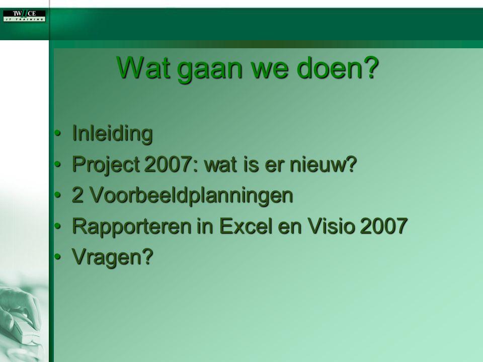 Wat gaan we doen Inleiding Project 2007: wat is er nieuw