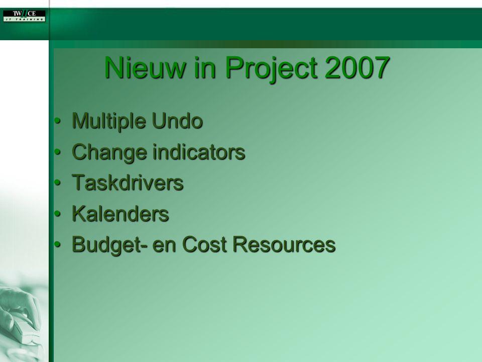 Nieuw in Project 2007 Multiple Undo Change indicators Taskdrivers