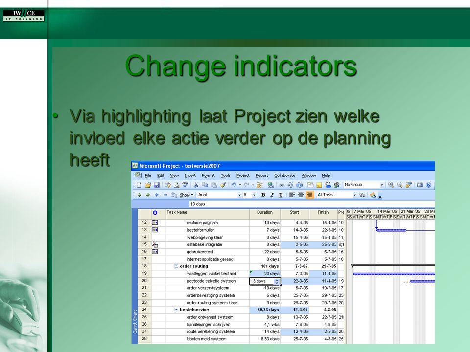 Change indicators Via highlighting laat Project zien welke invloed elke actie verder op de planning heeft.