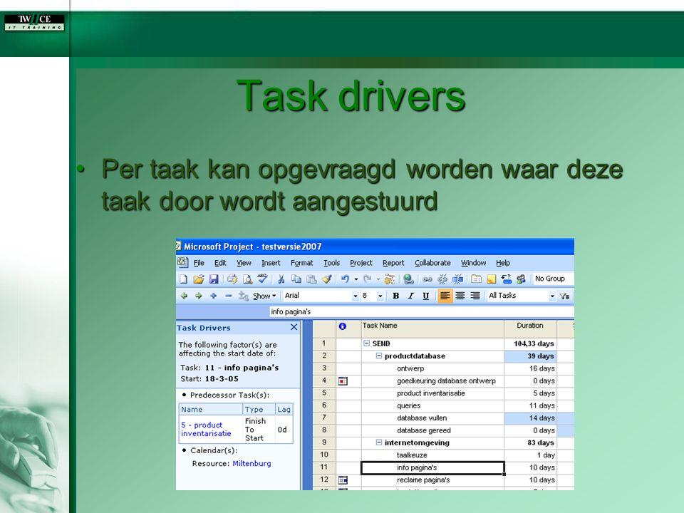 Task drivers Per taak kan opgevraagd worden waar deze taak door wordt aangestuurd