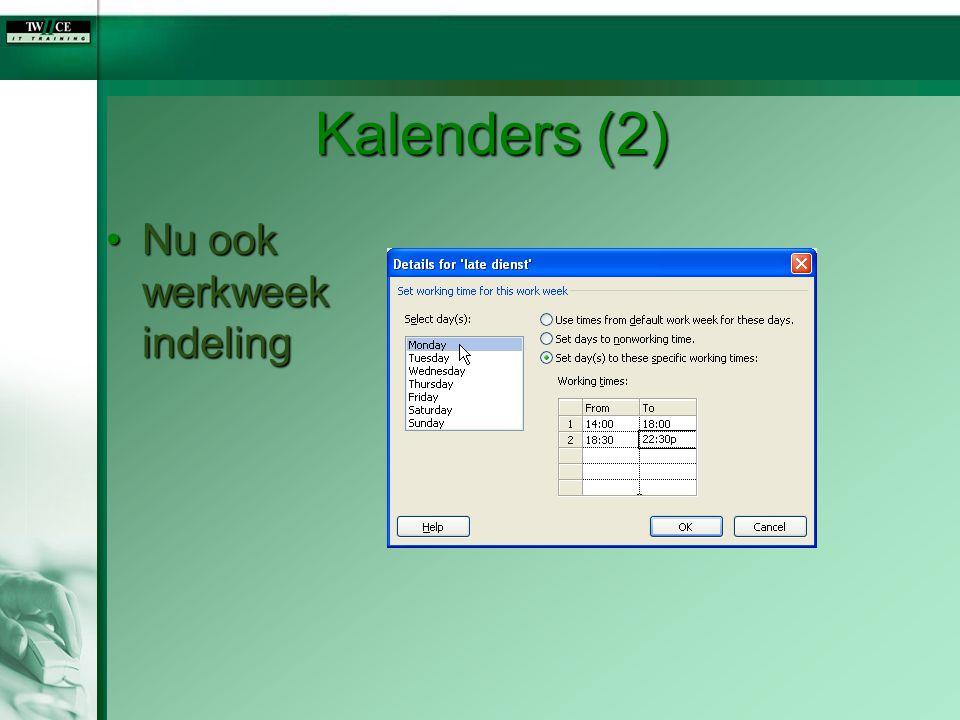Kalenders (2) Nu ook werkweek indeling