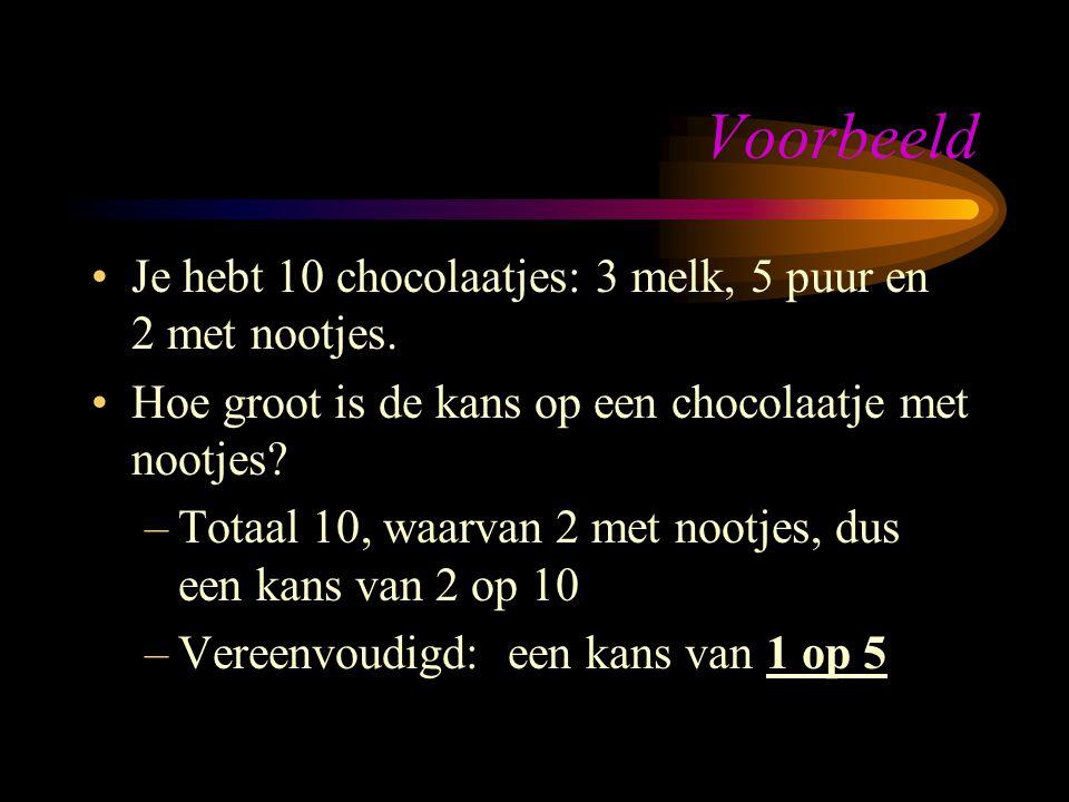 Voorbeeld Je hebt 10 chocolaatjes: 3 melk, 5 puur en 2 met nootjes.