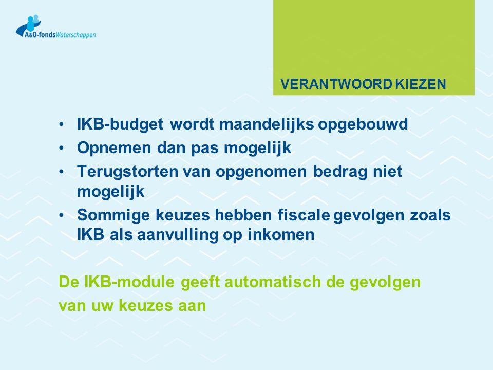 IKB-budget wordt maandelijks opgebouwd Opnemen dan pas mogelijk