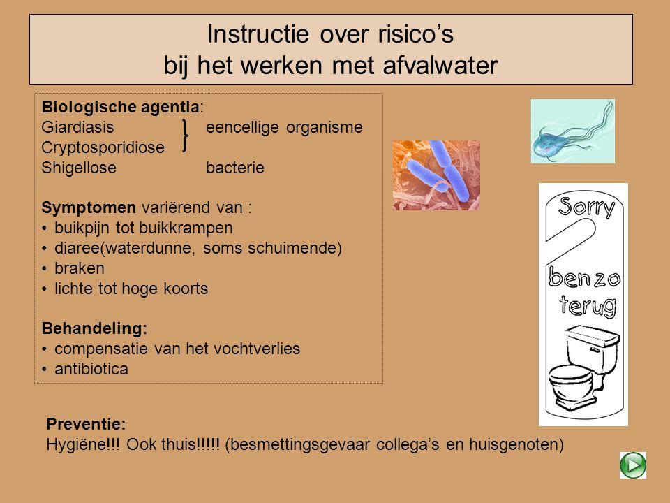 Instructie over risico's bij het werken met afvalwater