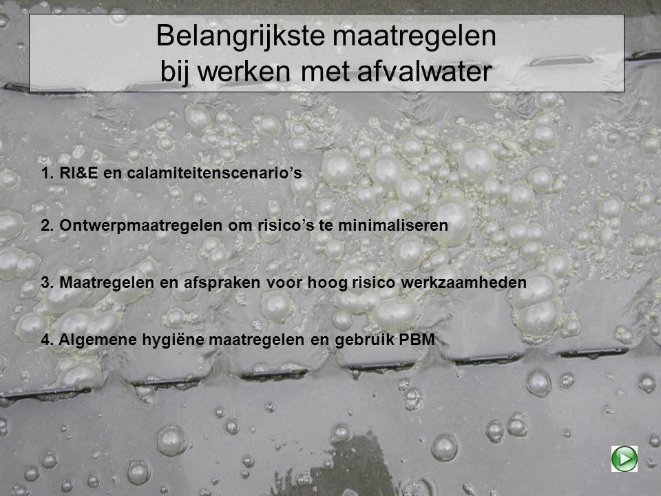 Belangrijkste maatregelen bij werken met afvalwater