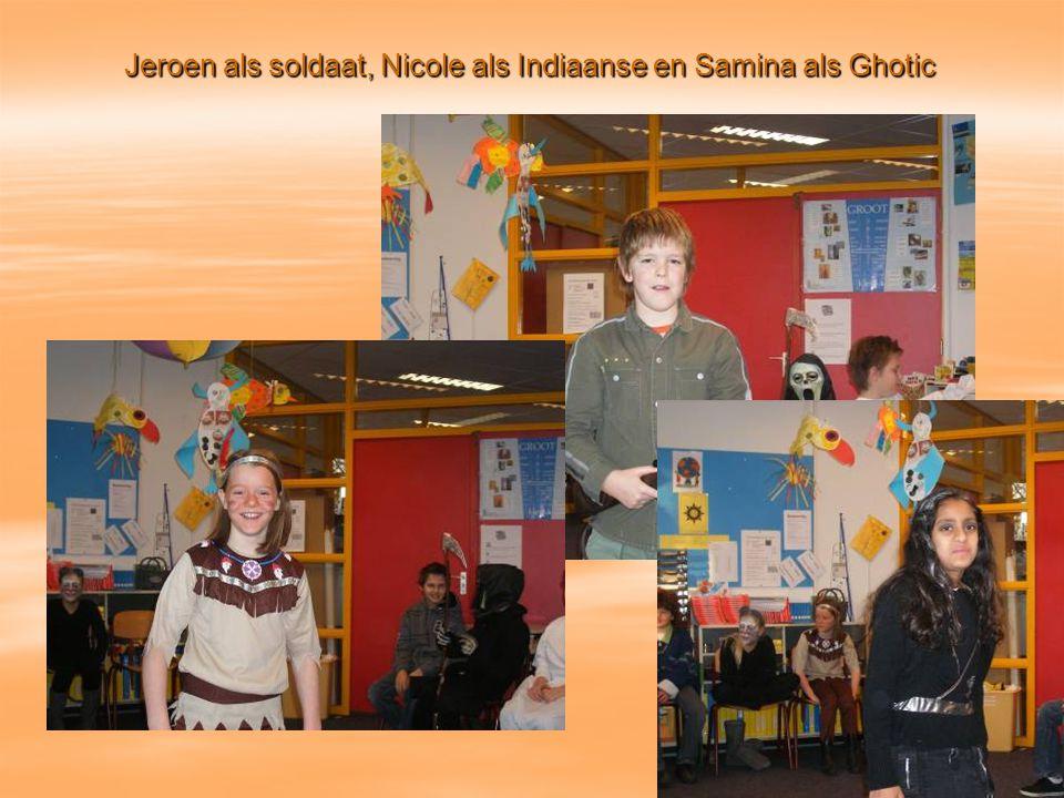 Jeroen als soldaat, Nicole als Indiaanse en Samina als Ghotic