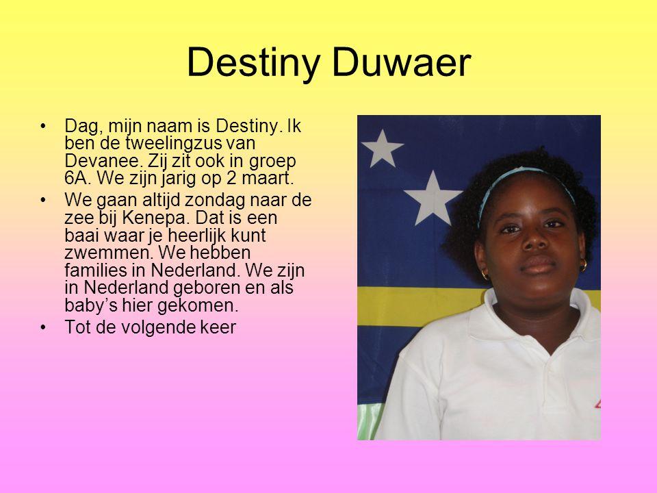 Destiny Duwaer Dag, mijn naam is Destiny. Ik ben de tweelingzus van Devanee. Zij zit ook in groep 6A. We zijn jarig op 2 maart.
