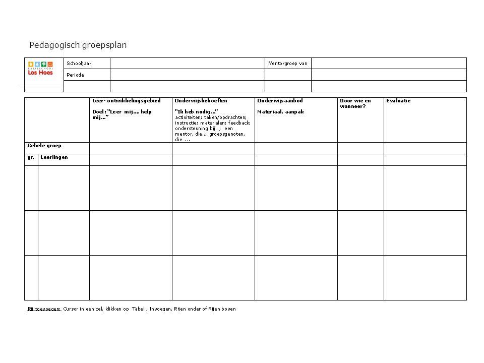 Pedagogisch groepsplan