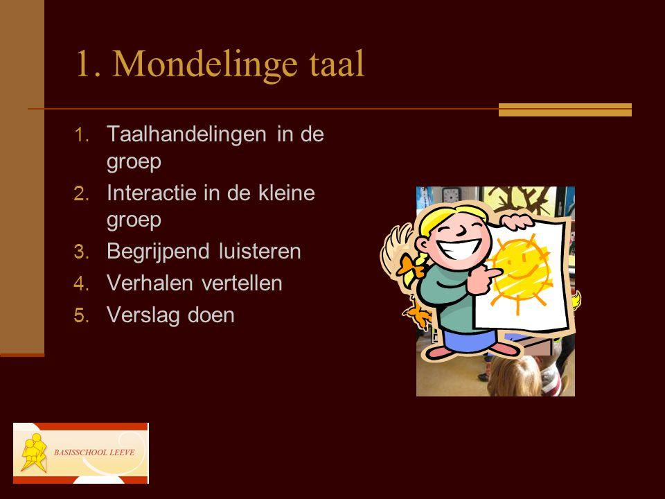 1. Mondelinge taal Taalhandelingen in de groep