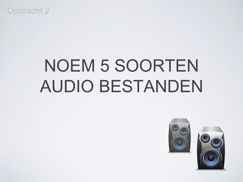 NOEM 5 SOORTEN AUDIO BESTANDEN