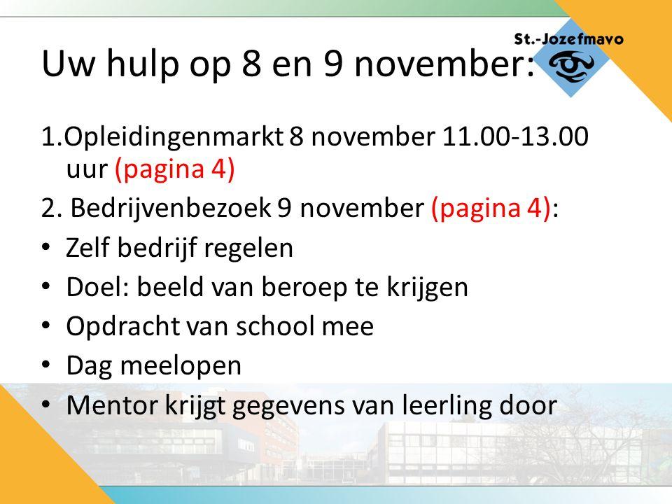 Uw hulp op 8 en 9 november: 1.Opleidingenmarkt 8 november 11.00-13.00 uur (pagina 4) 2. Bedrijvenbezoek 9 november (pagina 4):