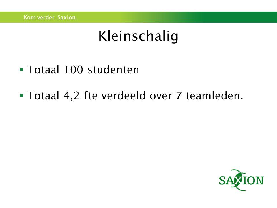 Kleinschalig Totaal 100 studenten