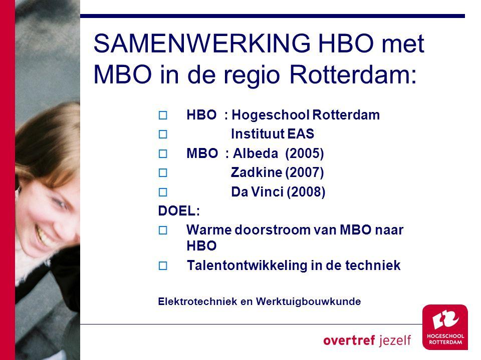 SAMENWERKING HBO met MBO in de regio Rotterdam: