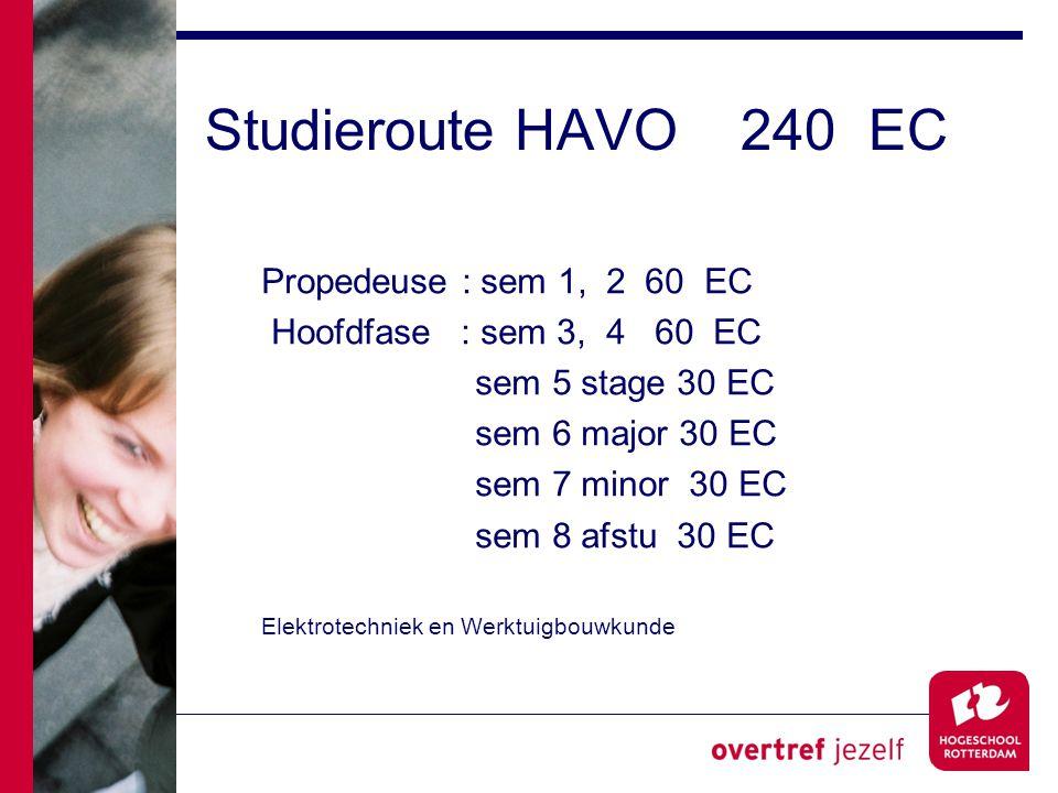 Studieroute HAVO 240 EC Propedeuse : sem 1, 2 60 EC