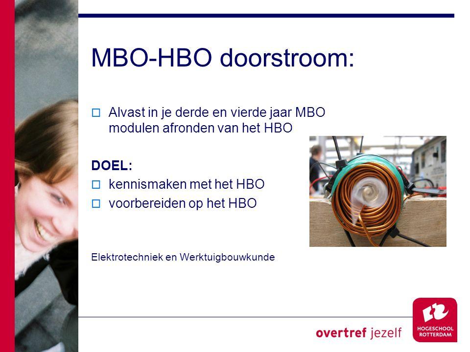 MBO-HBO doorstroom: Alvast in je derde en vierde jaar MBO modulen afronden van het HBO. DOEL: kennismaken met het HBO.