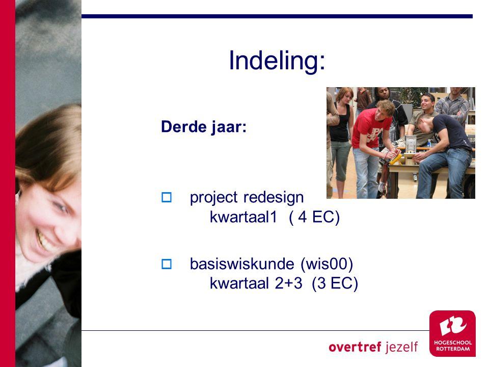 Indeling: Derde jaar: project redesign kwartaal1 ( 4 EC)