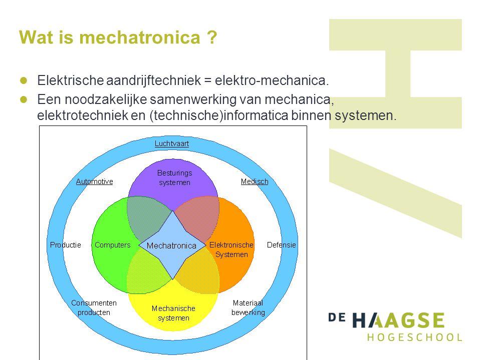 Wat is mechatronica Elektrische aandrijftechniek = elektro-mechanica.