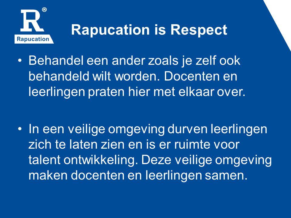 Rapucation is Respect Behandel een ander zoals je zelf ook behandeld wilt worden. Docenten en leerlingen praten hier met elkaar over.