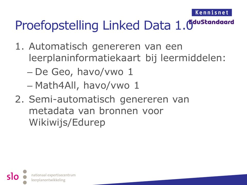 Proefopstelling Linked Data 1.0