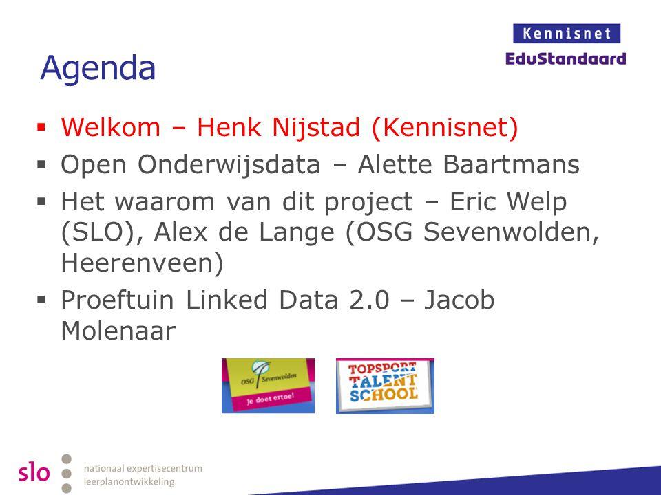 Agenda Welkom – Henk Nijstad (Kennisnet)