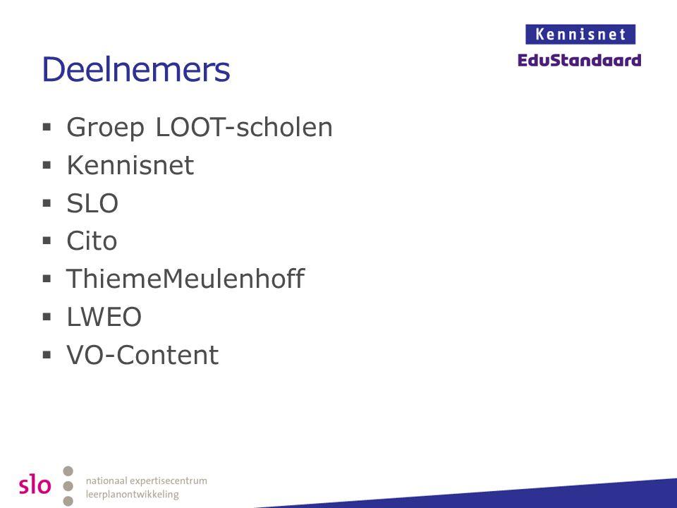 Deelnemers Groep LOOT-scholen Kennisnet SLO Cito ThiemeMeulenhoff LWEO