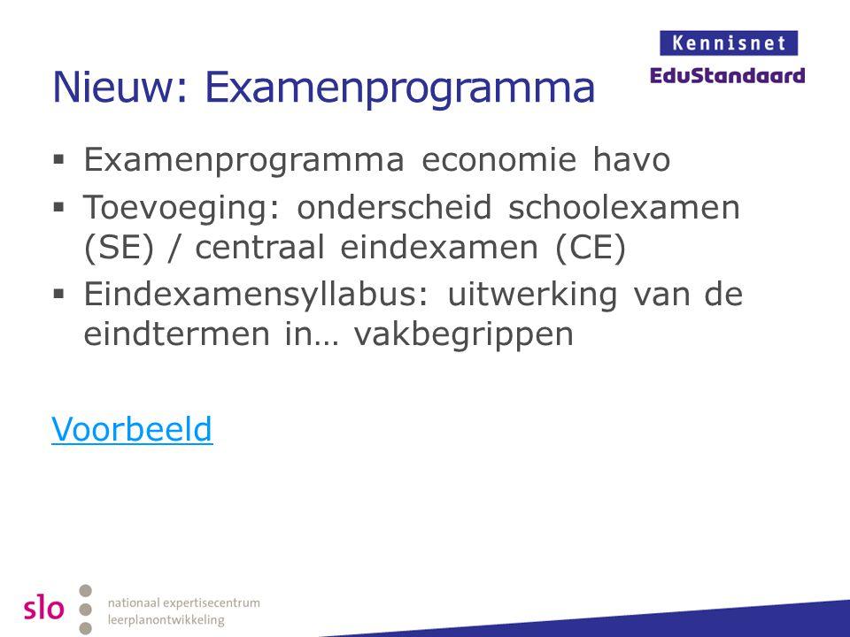 Nieuw: Examenprogramma