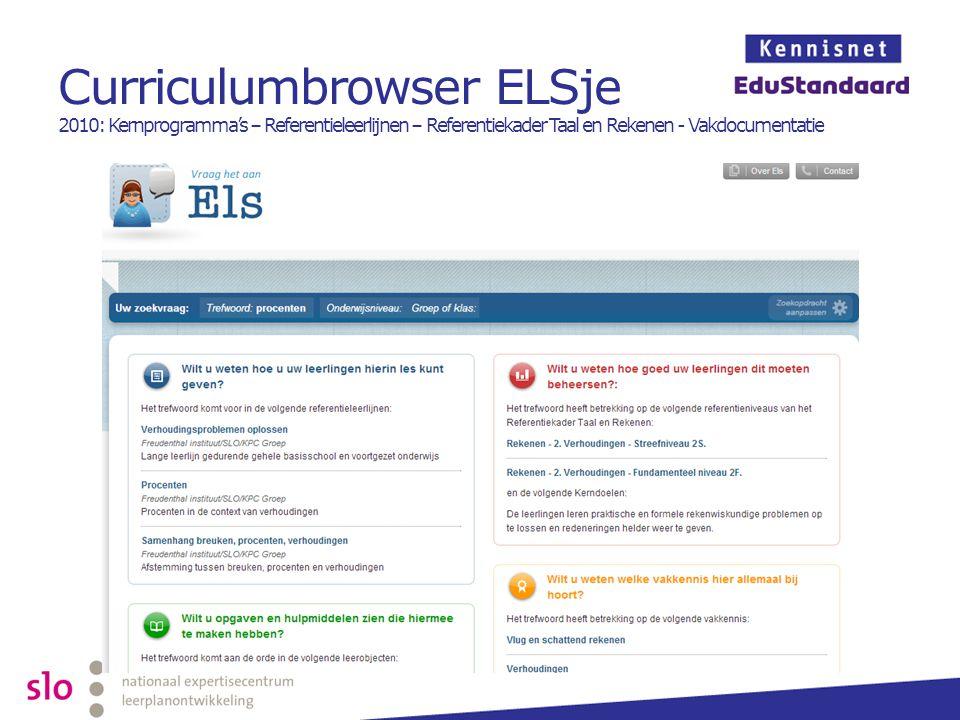 Curriculumbrowser ELSje 2010: Kernprogramma's – Referentieleerlijnen – Referentiekader Taal en Rekenen - Vakdocumentatie