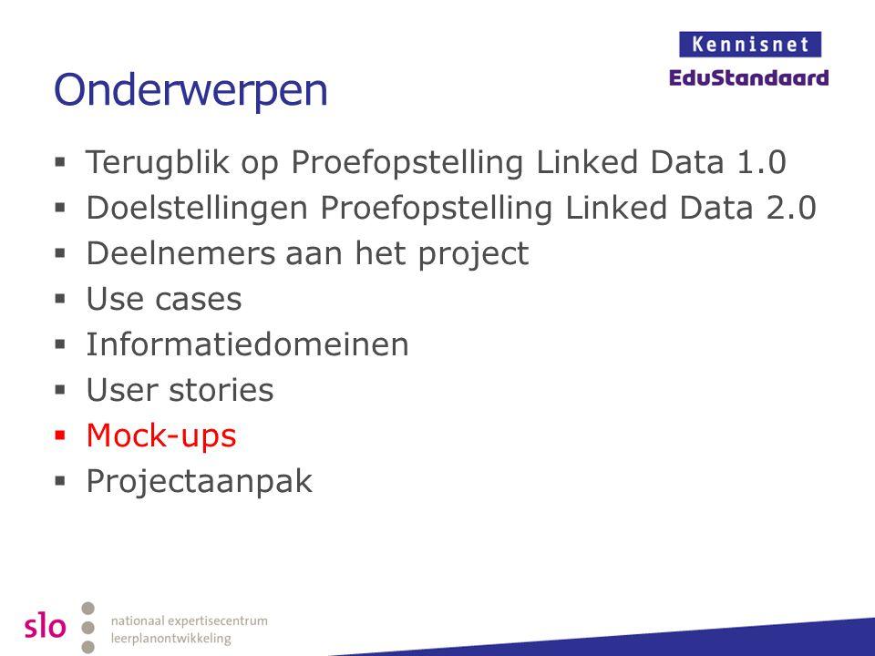 Onderwerpen Terugblik op Proefopstelling Linked Data 1.0