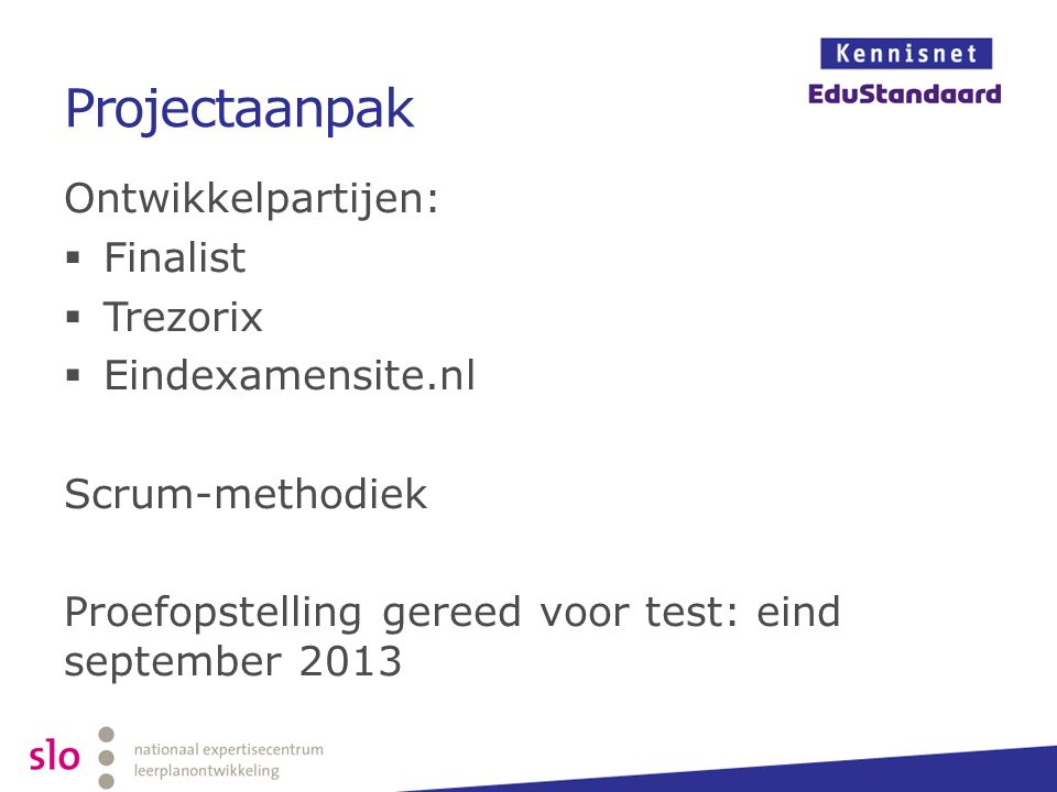Projectaanpak Ontwikkelpartijen: Finalist Trezorix Eindexamensite.nl