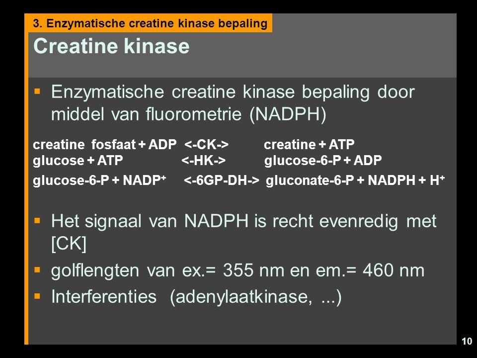 Creatine kinase 3. Enzymatische creatine kinase bepaling. Enzymatische creatine kinase bepaling door middel van fluorometrie (NADPH)
