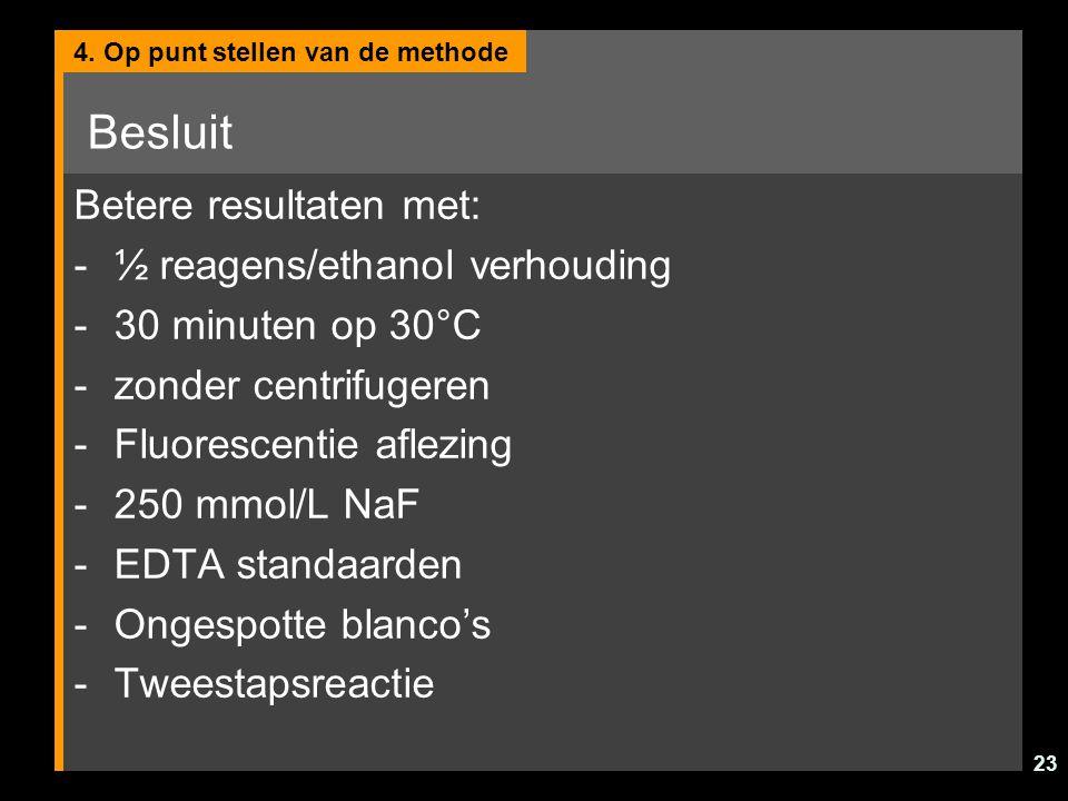Besluit Betere resultaten met: ½ reagens/ethanol verhouding