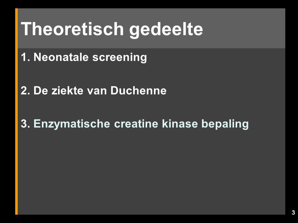 Theoretisch gedeelte 1. Neonatale screening 2. De ziekte van Duchenne