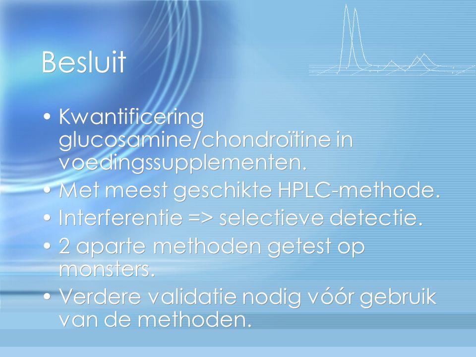 Besluit Kwantificering glucosamine/chondroïtine in voedingssupplementen. Met meest geschikte HPLC-methode.