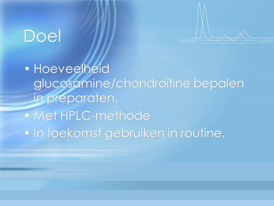 Doel Hoeveelheid glucosamine/chondroïtine bepalen in preparaten.