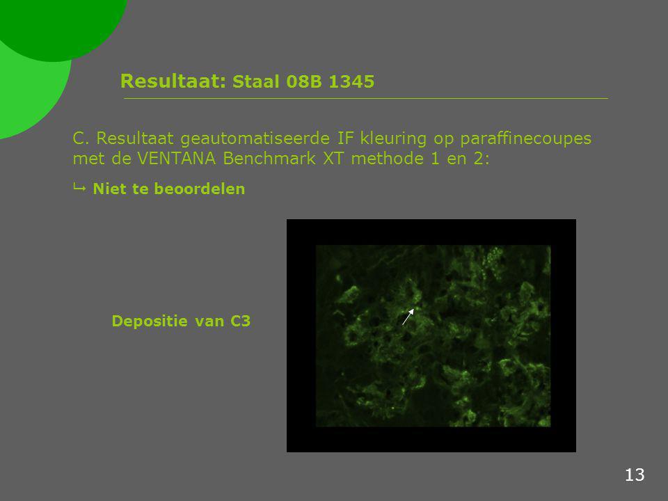 Resultaat: Staal 08B 1345 C. Resultaat geautomatiseerde IF kleuring op paraffinecoupes met de VENTANA Benchmark XT methode 1 en 2: