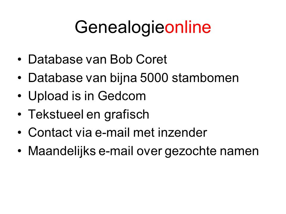 Genealogieonline Database van Bob Coret