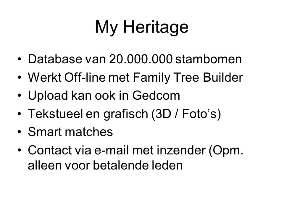 My Heritage Database van 20.000.000 stambomen