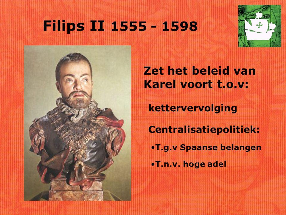 Filips II 1555 - 1598 Zet het beleid van Karel voort t.o.v: