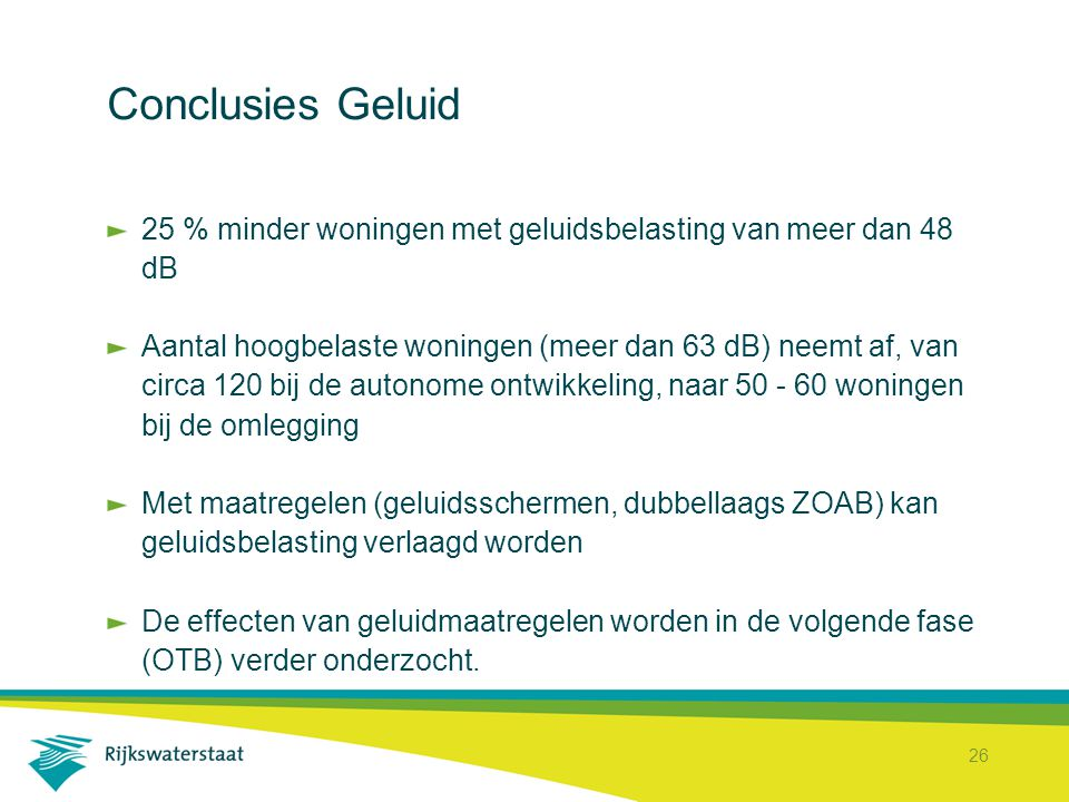 Conclusies Geluid 25 % minder woningen met geluidsbelasting van meer dan 48 dB.
