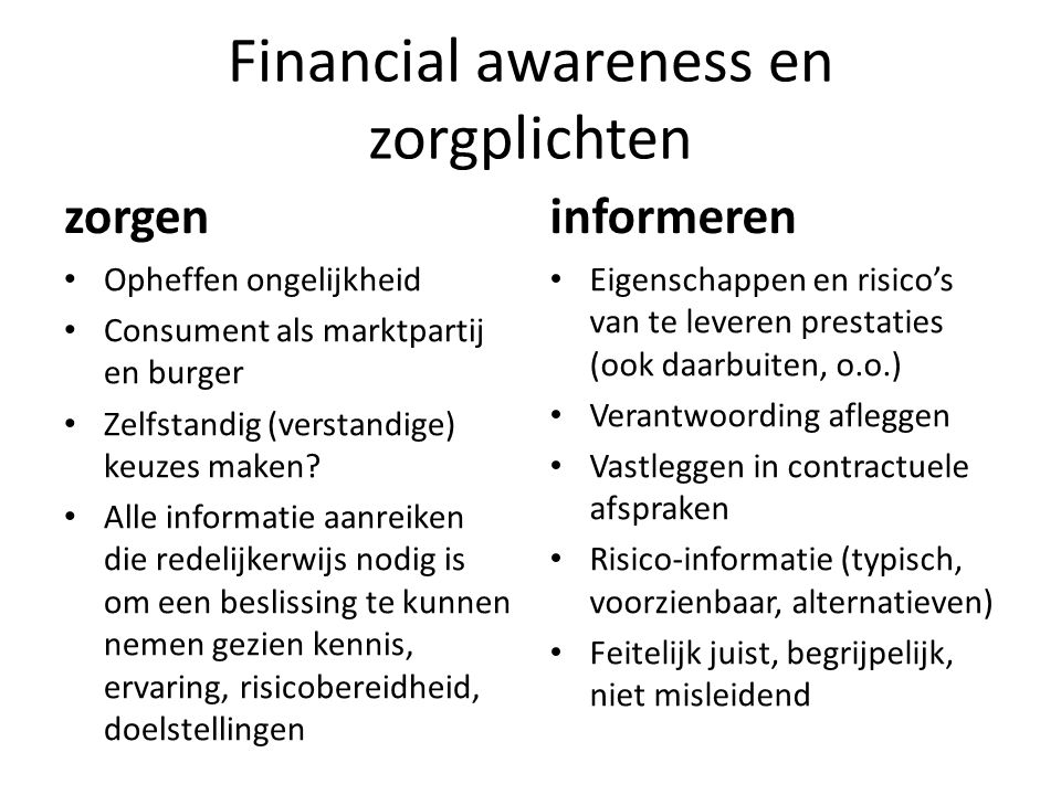 Financial awareness en zorgplichten