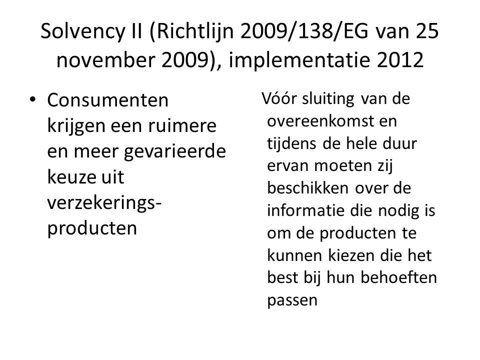 Solvency II (Richtlijn 2009/138/EG van 25 november 2009), implementatie 2012