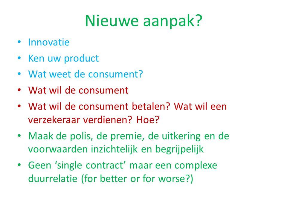 Nieuwe aanpak Innovatie Ken uw product Wat weet de consument