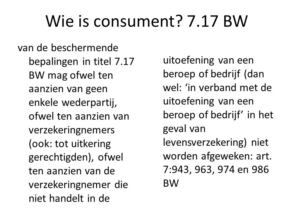 Wie is consument 7.17 BW
