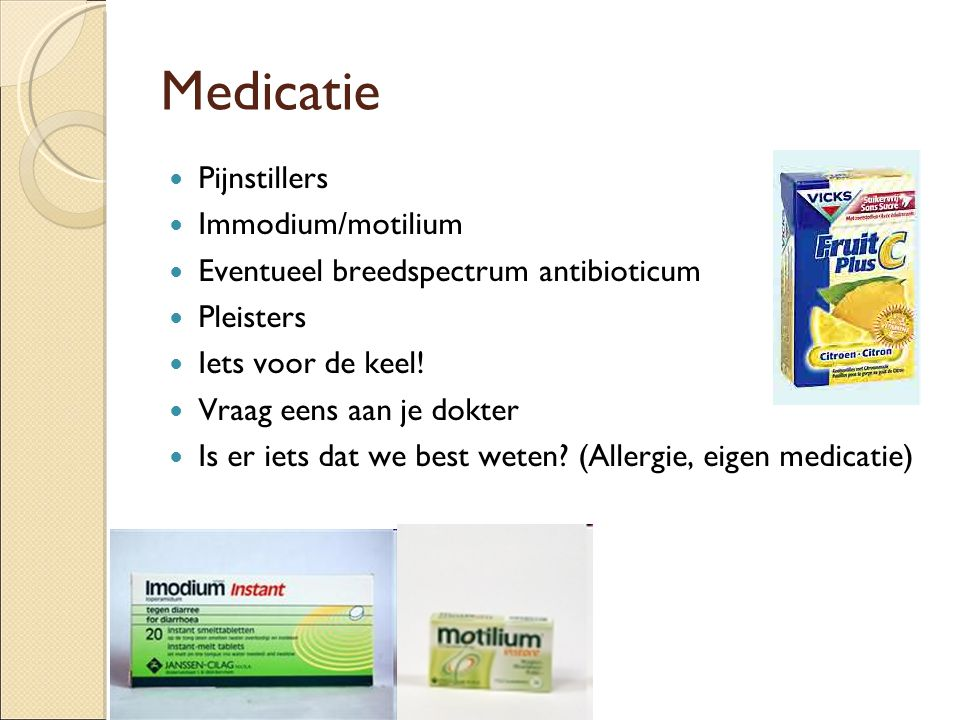 Medicatie Pijnstillers Immodium/motilium