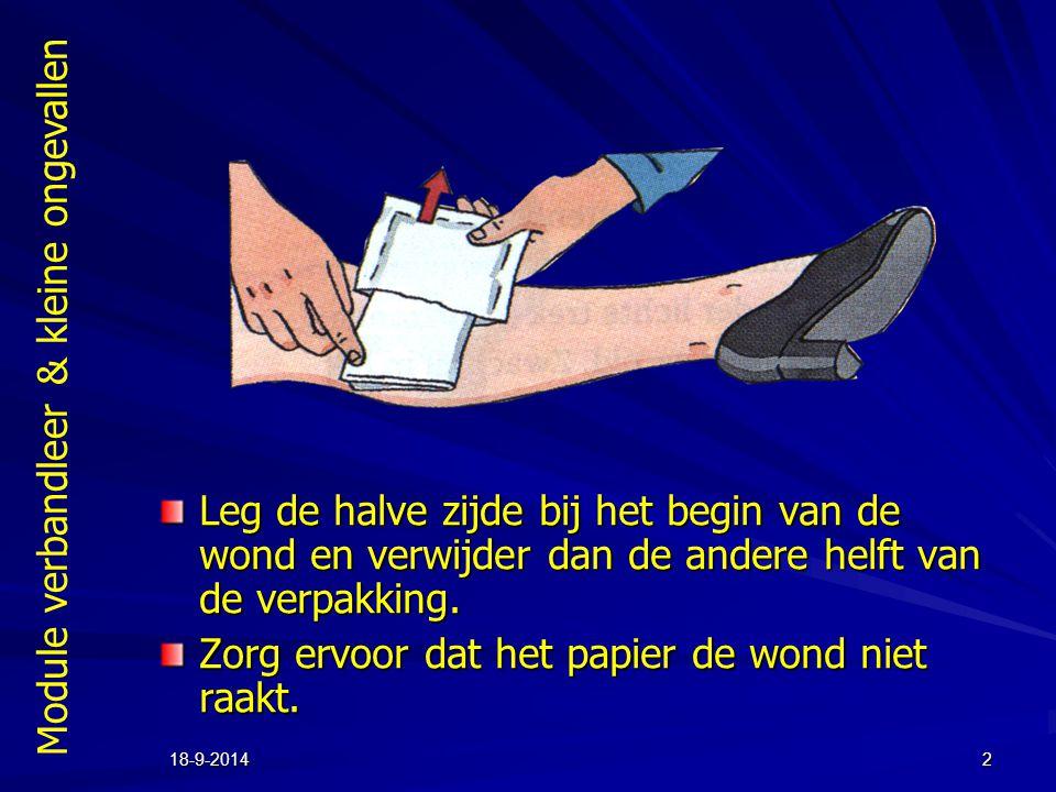 Zorg ervoor dat het papier de wond niet raakt.