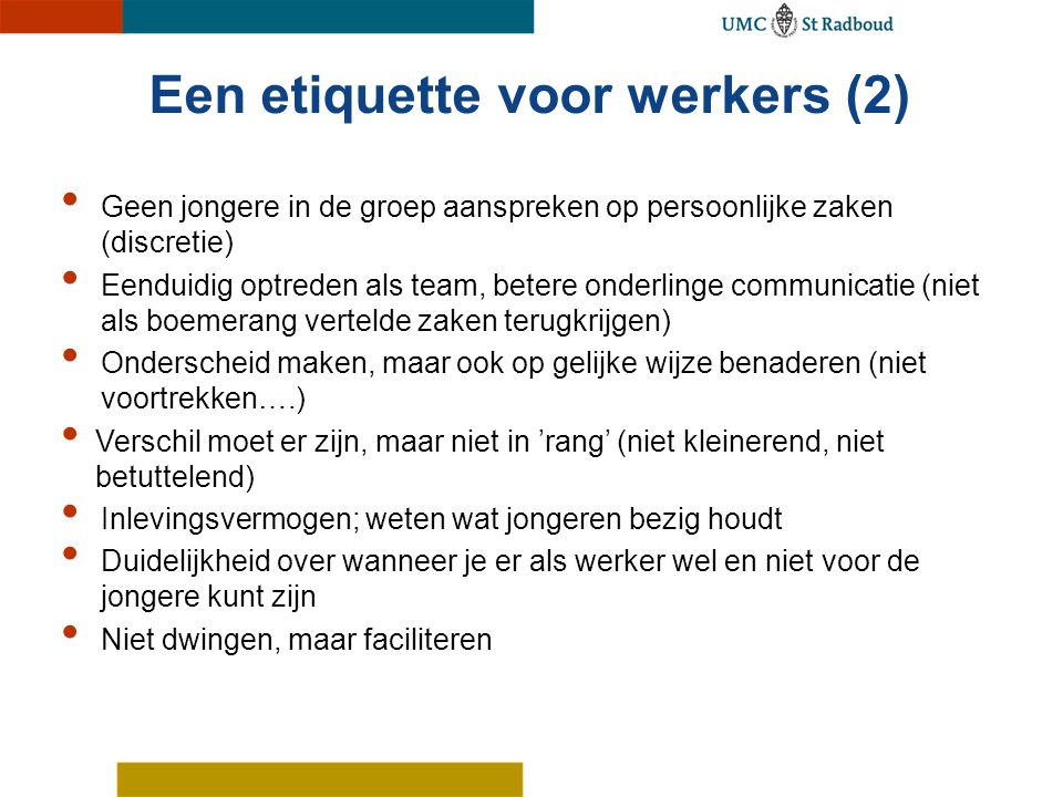Een etiquette voor werkers (2)