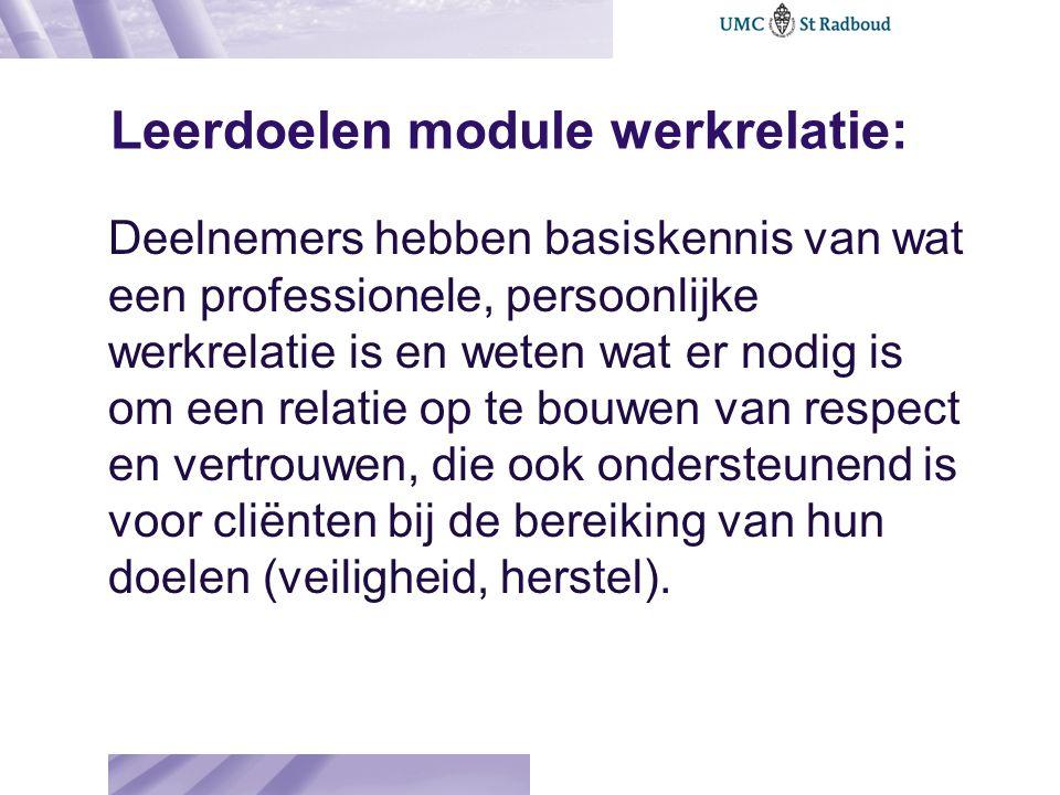 Leerdoelen module werkrelatie: