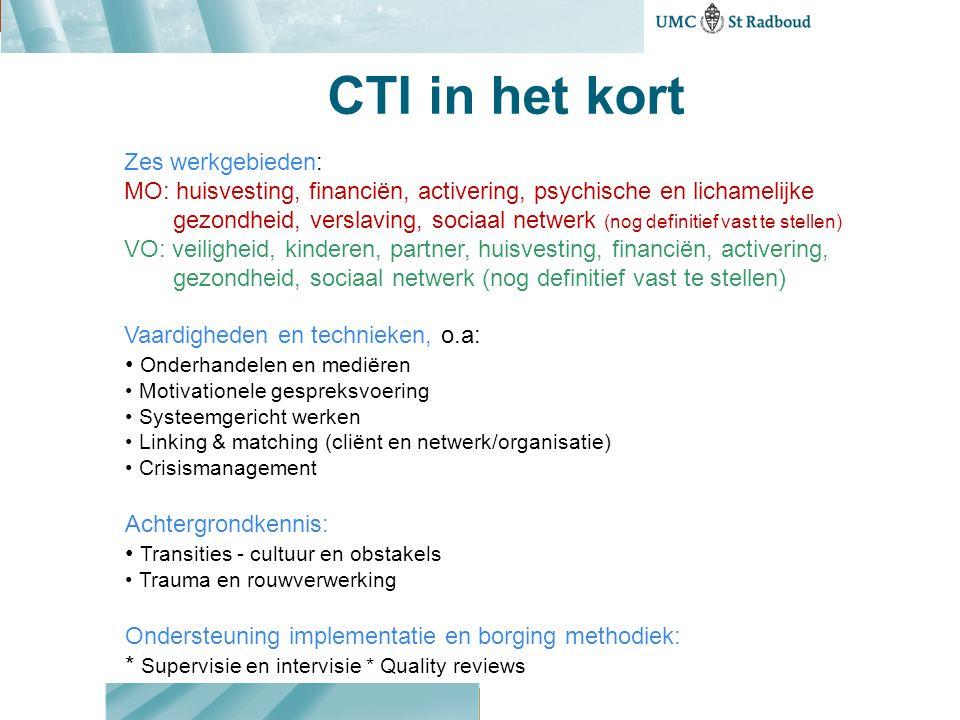 CTI in het kort Zes werkgebieden: