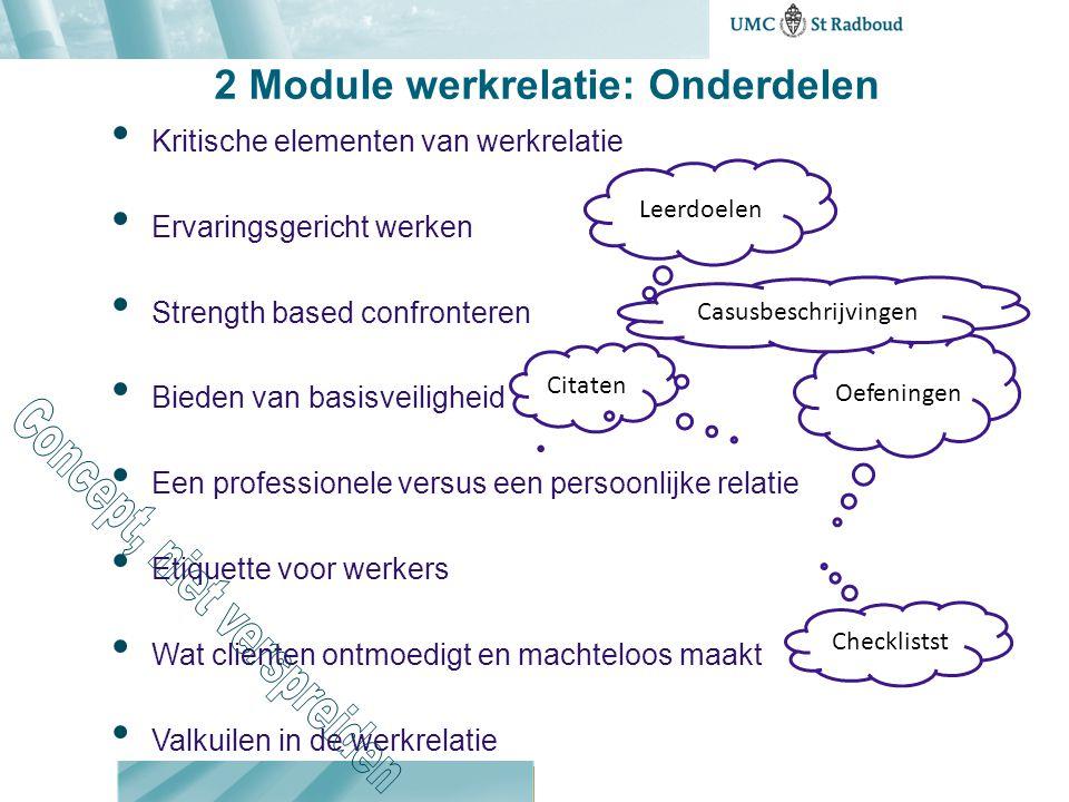 2 Module werkrelatie: Onderdelen