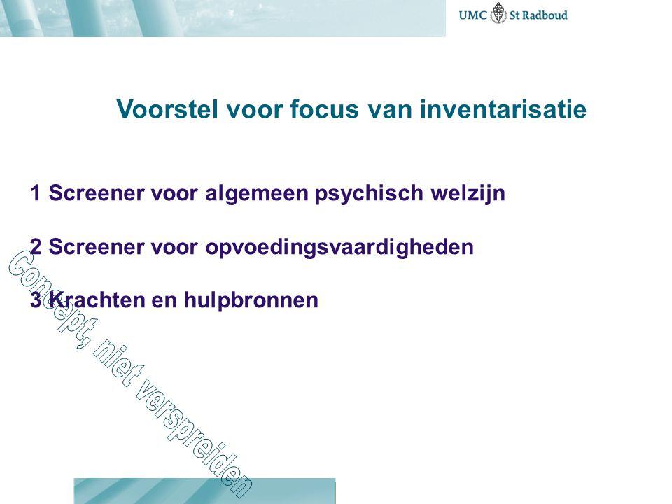 Voorstel voor focus van inventarisatie